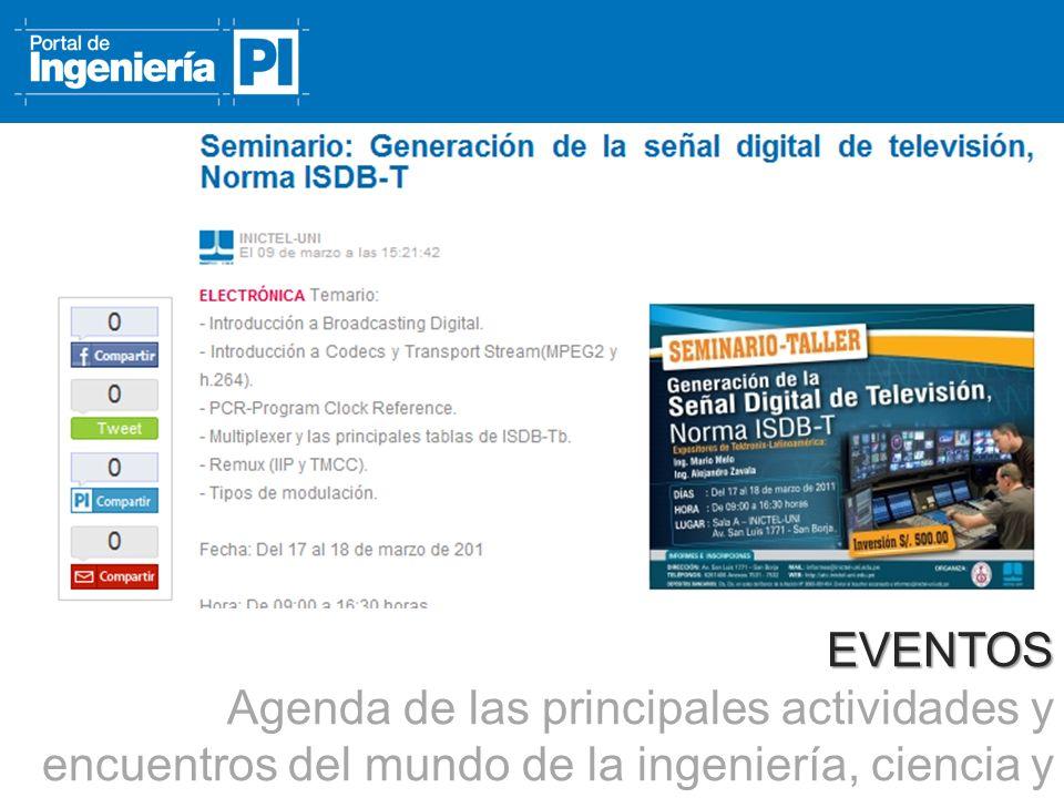 EVENTOS Agenda de las principales actividades y encuentros del mundo de la ingeniería, ciencia y tecnología