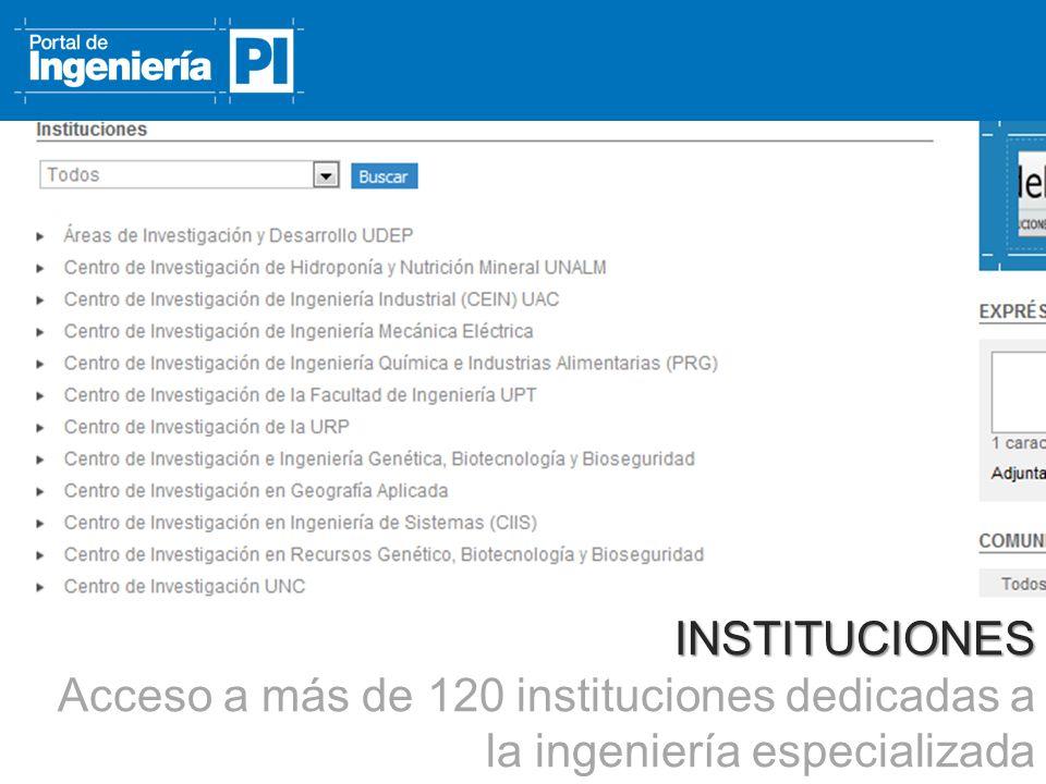INSTITUCIONES Acceso a más de 120 instituciones dedicadas a la ingeniería especializada