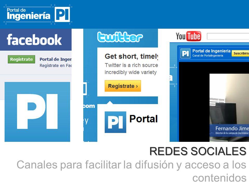 REDES SOCIALES Canales para facilitar la difusión y acceso a los contenidos