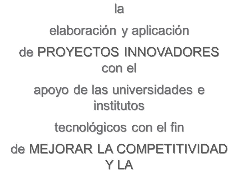 Es una iniciativa que busca fomentar la elaboración y aplicación de PROYECTOS INNOVADORES con el apoyo de las universidades e institutos tecnológicos con el fin de MEJORAR LA COMPETITIVIDAD Y LA PRODUCTIVIDAD DE LAS MYPES