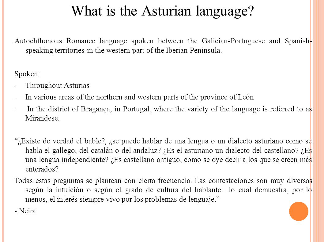 What is the Asturian language.