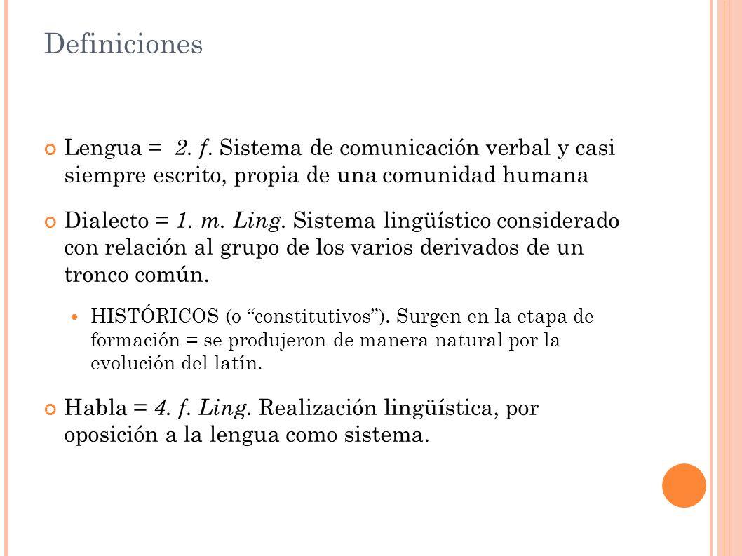 Definiciones Lengua = 2. f.