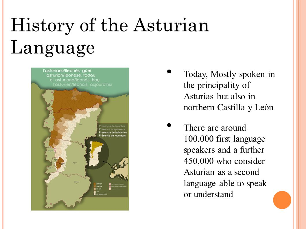 History of the Asturian Language Today, Mostly spoken in the principality of Asturias but also in northern Castilla y León There are around 100,000 first language speakers and a further 450,000 who consider Asturian as a second language able to speak or understand