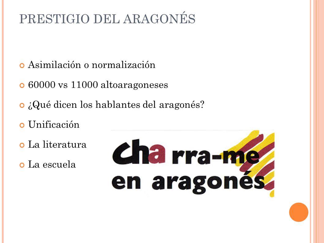 PRESTIGIO DEL ARAGONÉS Asimilación o normalización 60000 vs 11000 altoaragoneses ¿Qué dicen los hablantes del aragonés.