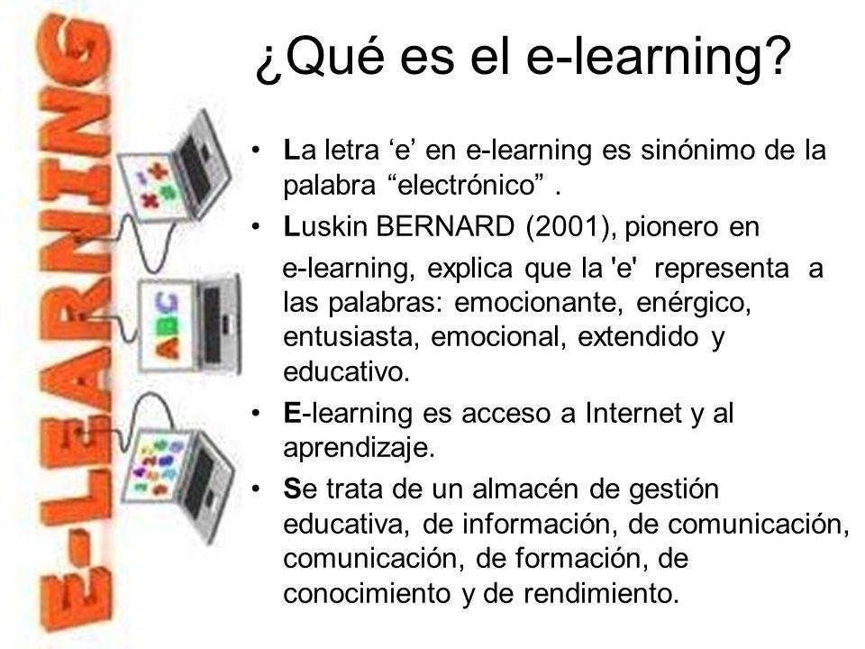 Online learning Aprendizaje en línea: está asociado con el contenido de fácil acceso en una computadora. El contenido puede estar en la Web o Internet