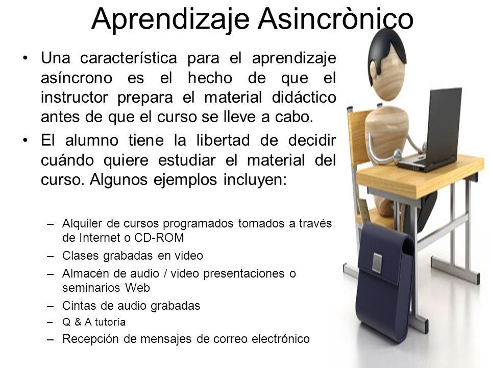Aprendizaje Sincronizado Dentro de aprendizaje sincrónico, el aprendizaje y la enseñanza se realizan en tiempo real, mientras que el instructor y los