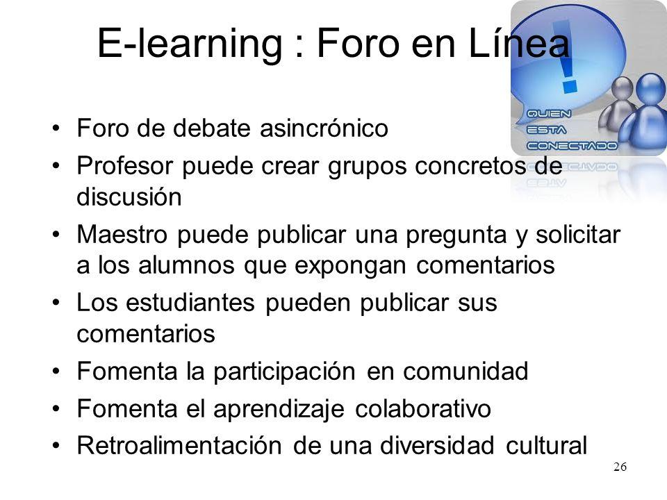E-learning : Audio Chat Herramienta de comunicación sincrónica Comunicarse con los estudiantes Comunicarse con los padres Más estudiantes participan E