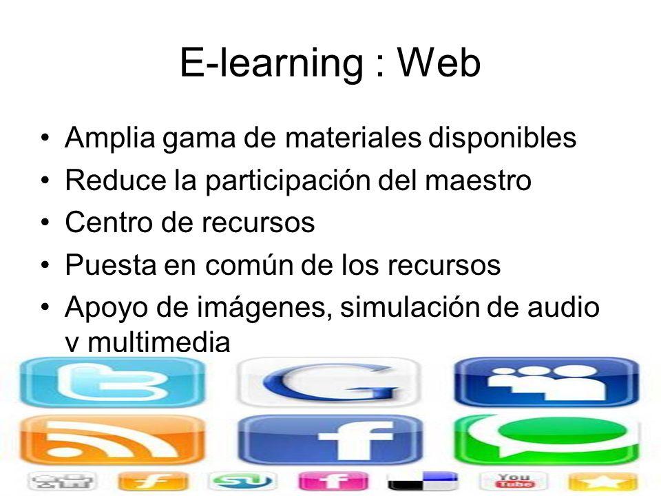 E-learning : Foro en Línea Foro de debate asincrónico Profesor puede crear grupos concretos de discusión Maestro puede publicar una pregunta y solicit