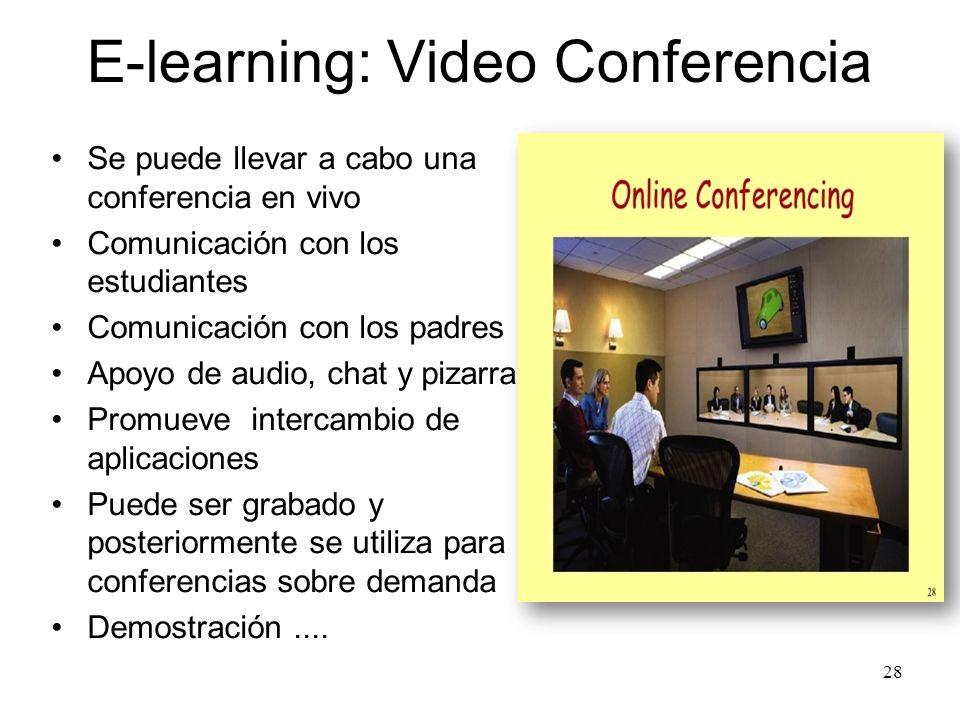 E-learning : Web Amplia gama de materiales disponibles Reduce la participación del maestro Centro de recursos Puesta en común de los recursos Apoyo de