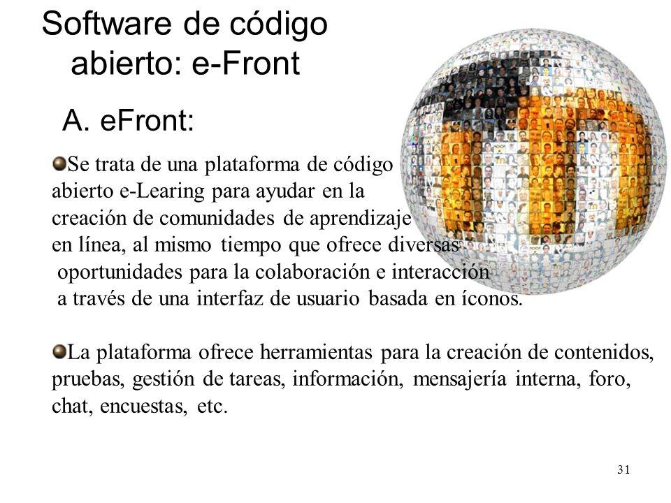 Código abierto de aplicaciones e-learning El código abierto se refiere a un programa en el que el código fuente (lenguaje de programación) está dispon