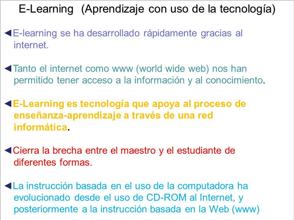 4 E-Learning (Aprendizaje con uso de la tecnología) E-learning se ha desarrollado rápidamente gracias al internet.
