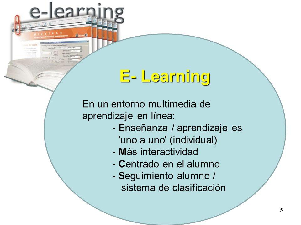5 E- Learning En un entorno multimedia de aprendizaje en línea: - Enseñanza / aprendizaje es uno a uno (individual) - Más interactividad - Centrado en el alumno - Seguimiento alumno / sistema de clasificación