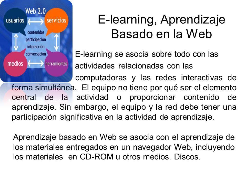 E-learning, Aprendizaje Basado en la Web E-learning se asocia sobre todo con las actividades relacionadas con las computadoras y las redes interactivas de forma simultánea.