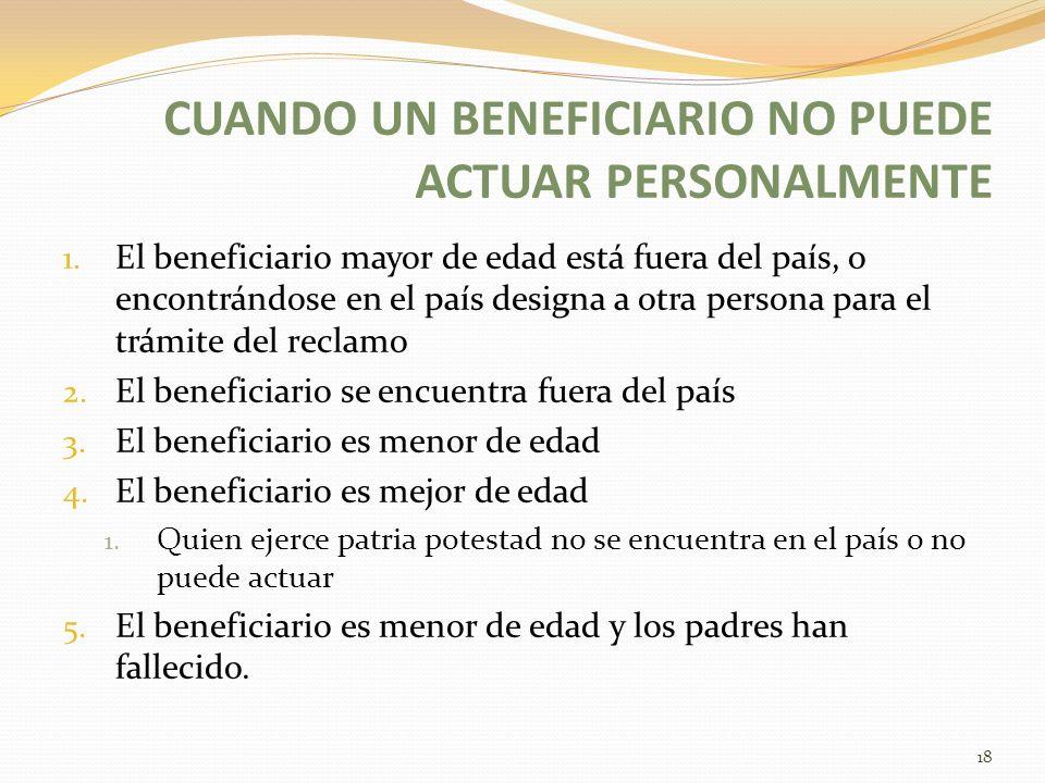 CUANDO UN BENEFICIARIO NO PUEDE ACTUAR PERSONALMENTE 1. El beneficiario mayor de edad está fuera del país, o encontrándose en el país designa a otra p