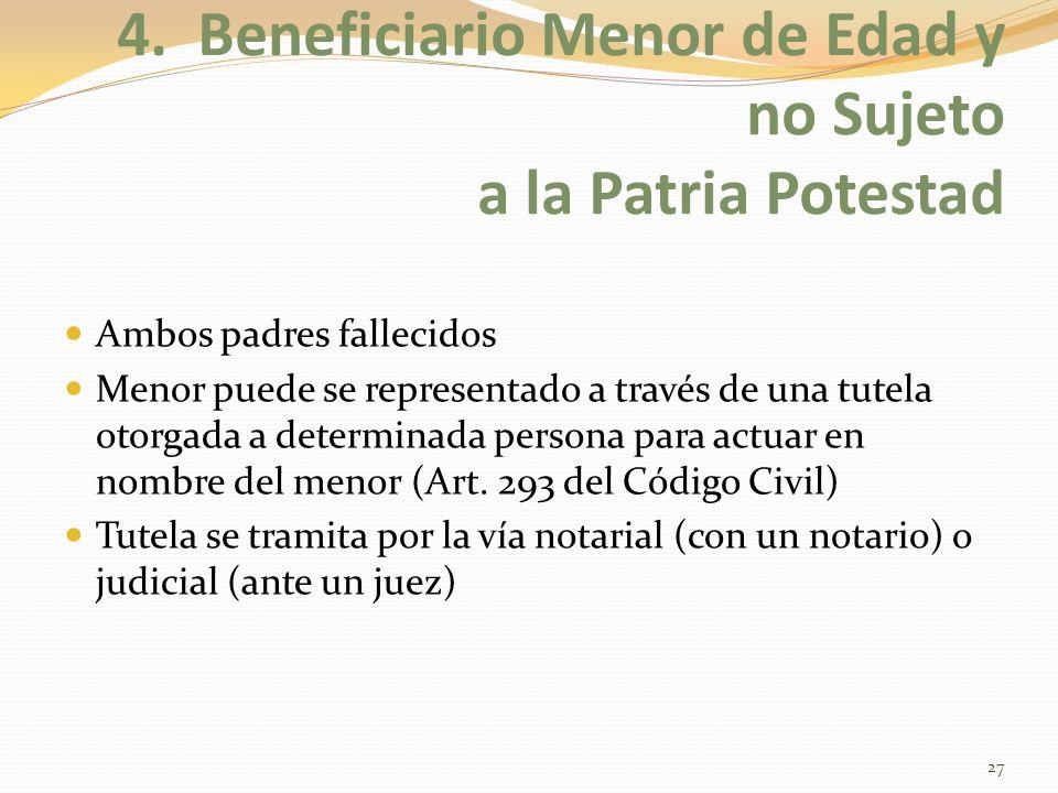 4. Beneficiario Menor de Edad y no Sujeto a la Patria Potestad Ambos padres fallecidos Menor puede se representado a través de una tutela otorgada a d