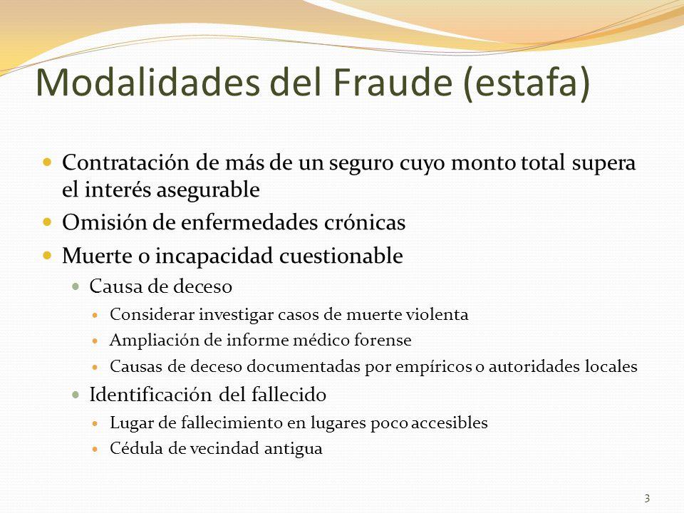 Modalidades del Fraude (estafa) Contratación de más de un seguro cuyo monto total supera el interés asegurable Omisión de enfermedades crónicas Muerte