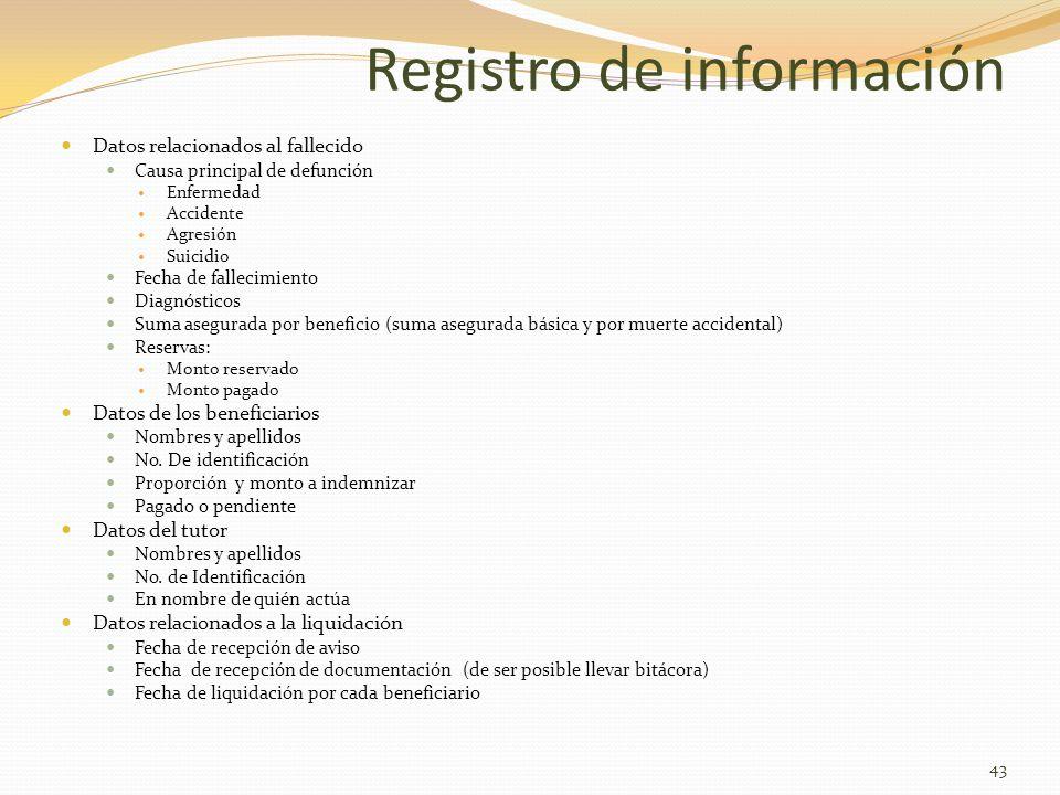 Registro de información Datos relacionados al fallecido Causa principal de defunción Enfermedad Accidente Agresión Suicidio Fecha de fallecimiento Dia