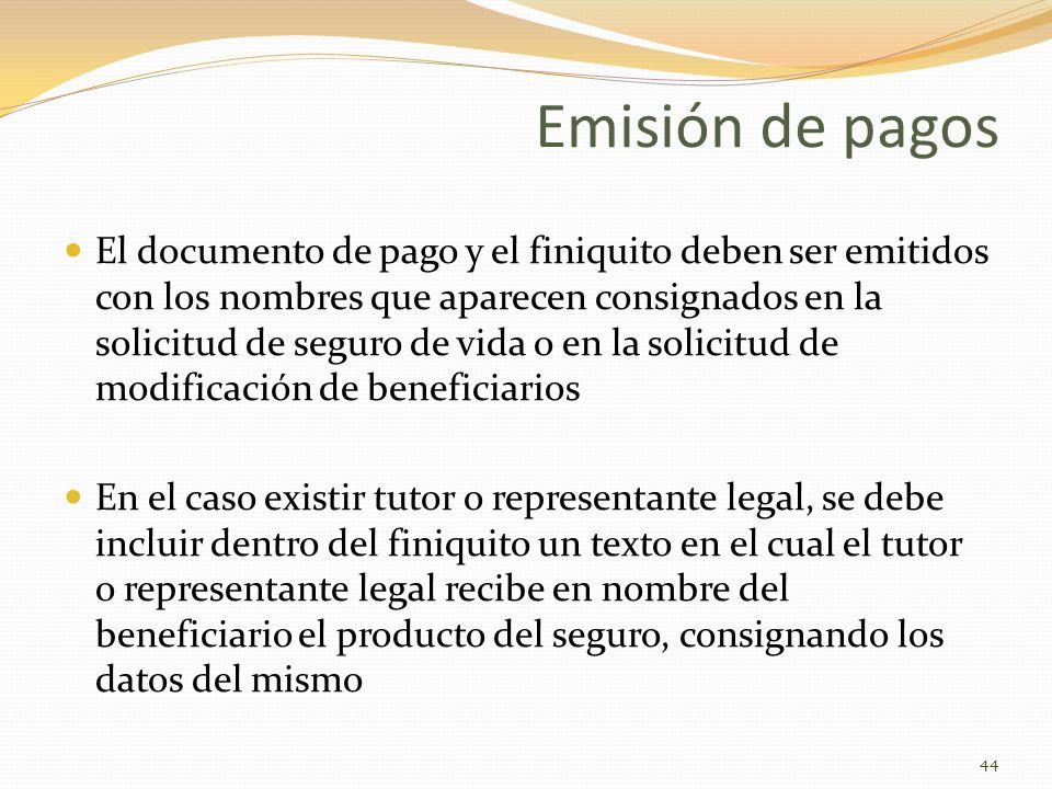 Emisión de pagos El documento de pago y el finiquito deben ser emitidos con los nombres que aparecen consignados en la solicitud de seguro de vida o e