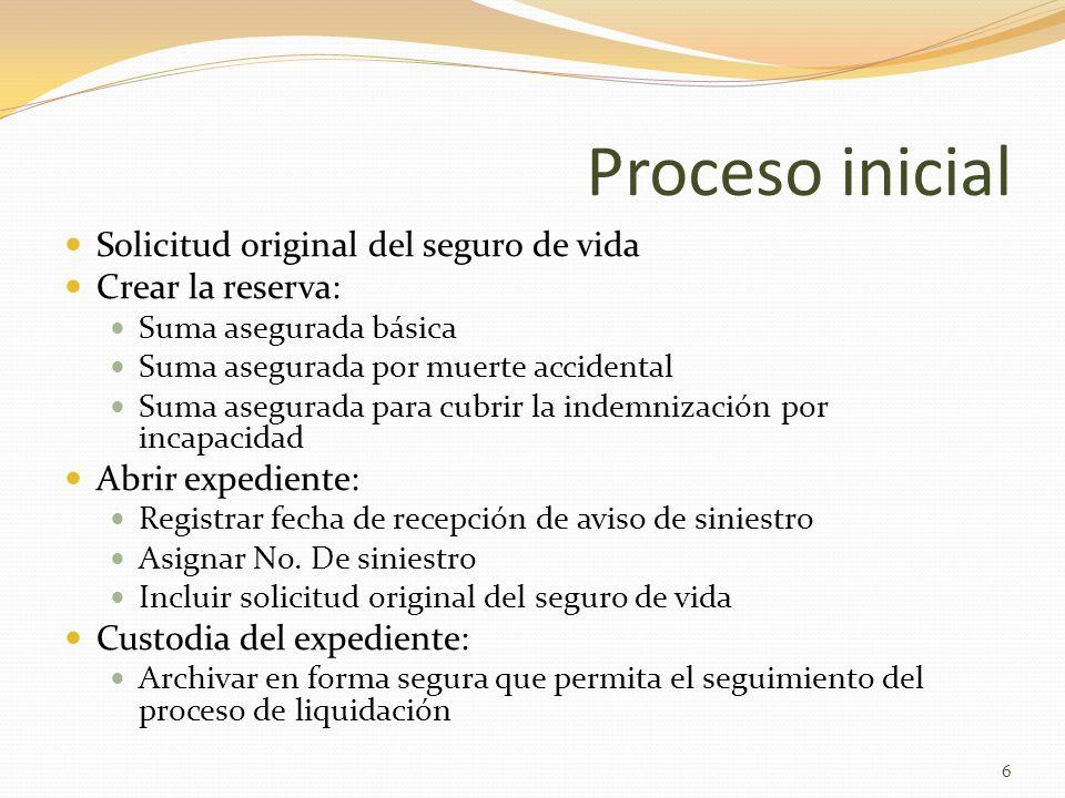 Proceso inicial Solicitud original del seguro de vida Crear la reserva: Suma asegurada básica Suma asegurada por muerte accidental Suma asegurada para