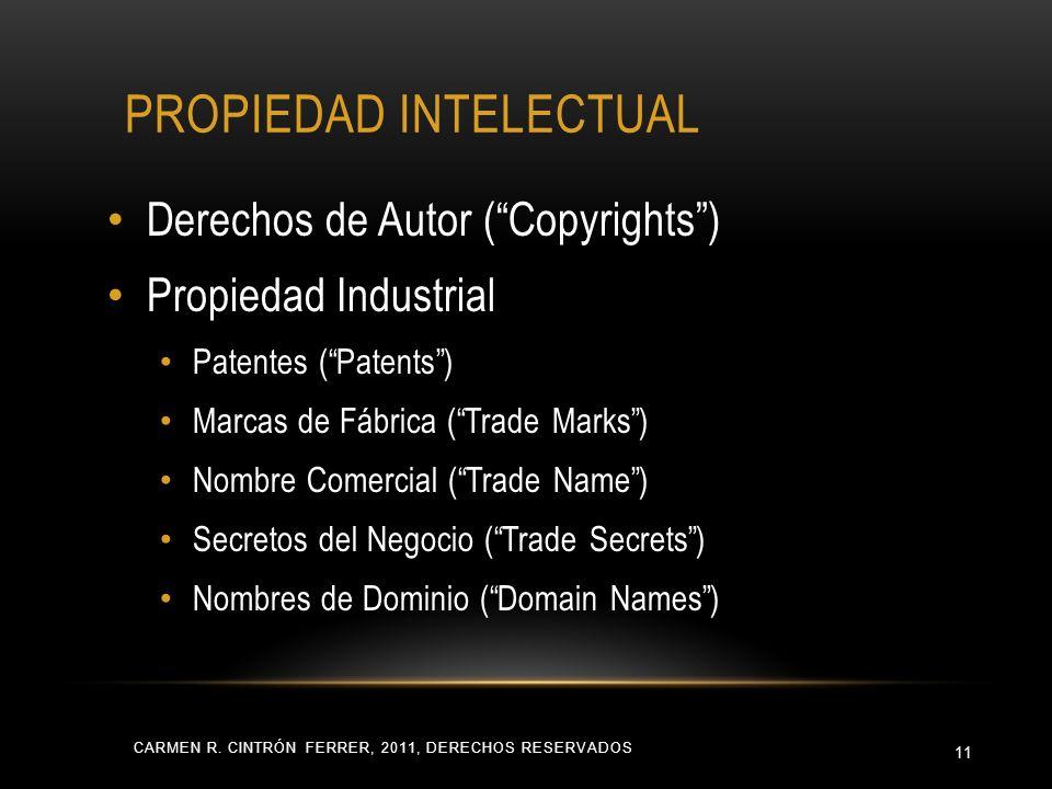 PROPIEDAD INTELECTUAL CARMEN R. CINTRÓN FERRER, 2011, DERECHOS RESERVADOS 11 Derechos de Autor (Copyrights) Propiedad Industrial Patentes (Patents) Ma