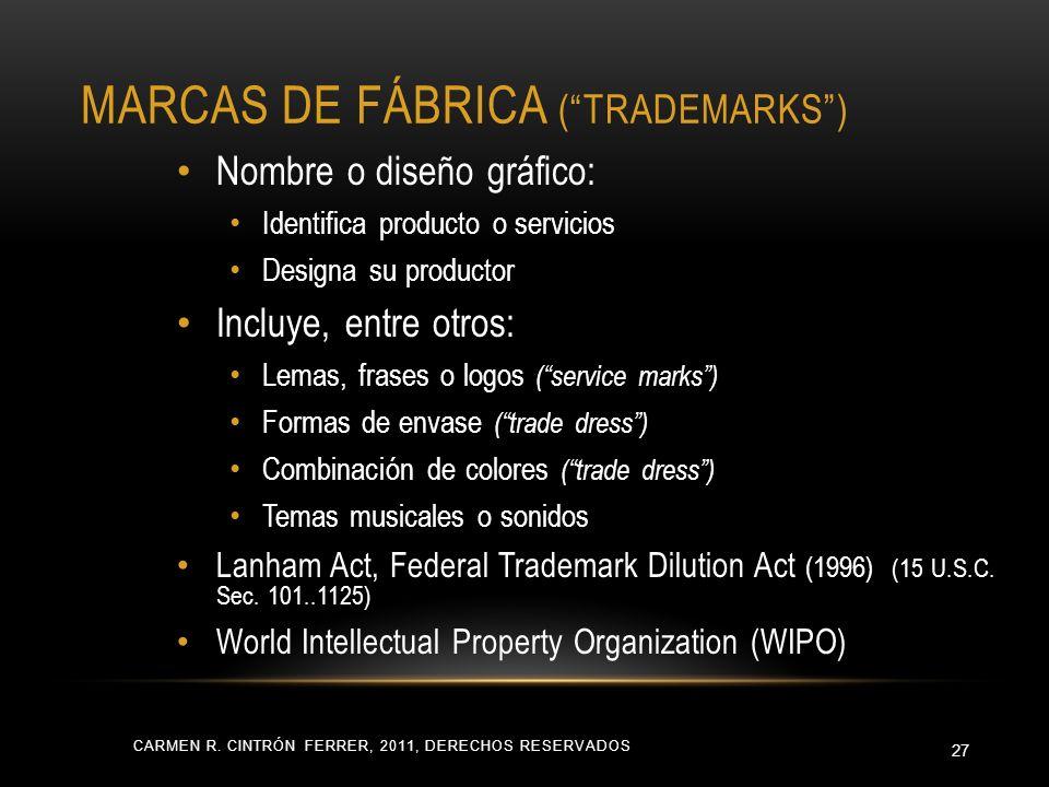 MARCAS DE FÁBRICA (TRADEMARKS) CARMEN R. CINTRÓN FERRER, 2011, DERECHOS RESERVADOS 27 Nombre o diseño gráfico: Identifica producto o servicios Designa