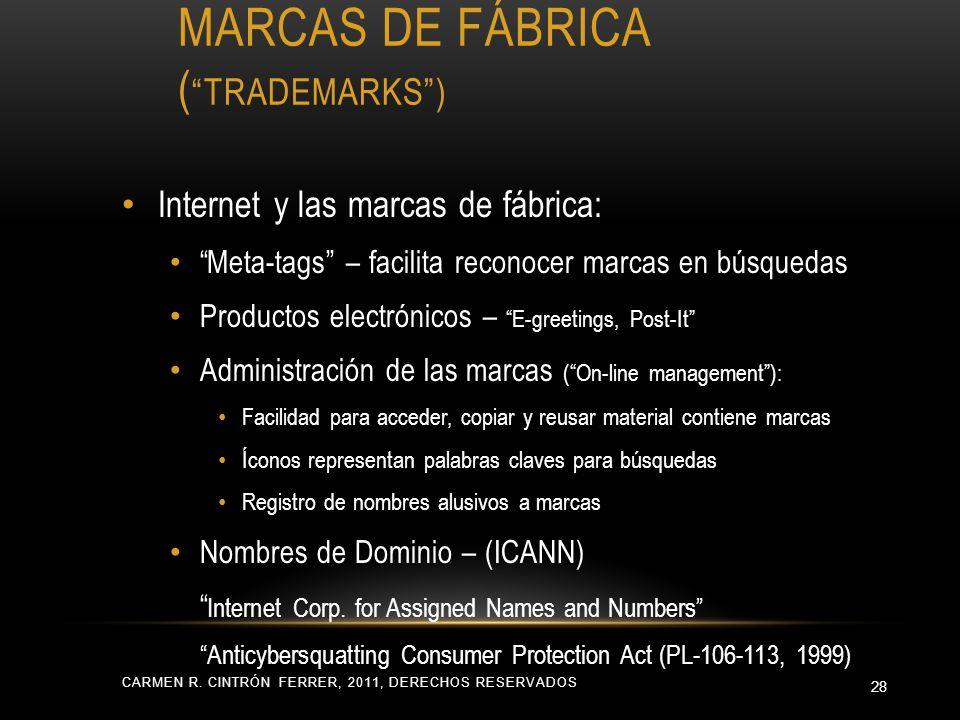 MARCAS DE FÁBRICA ( TRADEMARKS) Internet y las marcas de fábrica: Meta-tags – facilita reconocer marcas en búsquedas Productos electrónicos – E-greeti
