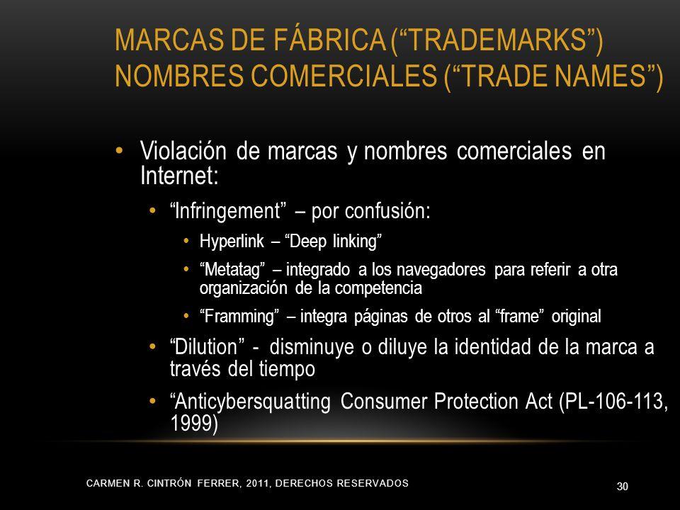 MARCAS DE FÁBRICA (TRADEMARKS) NOMBRES COMERCIALES (TRADE NAMES) Violación de marcas y nombres comerciales en Internet: Infringement – por confusión: