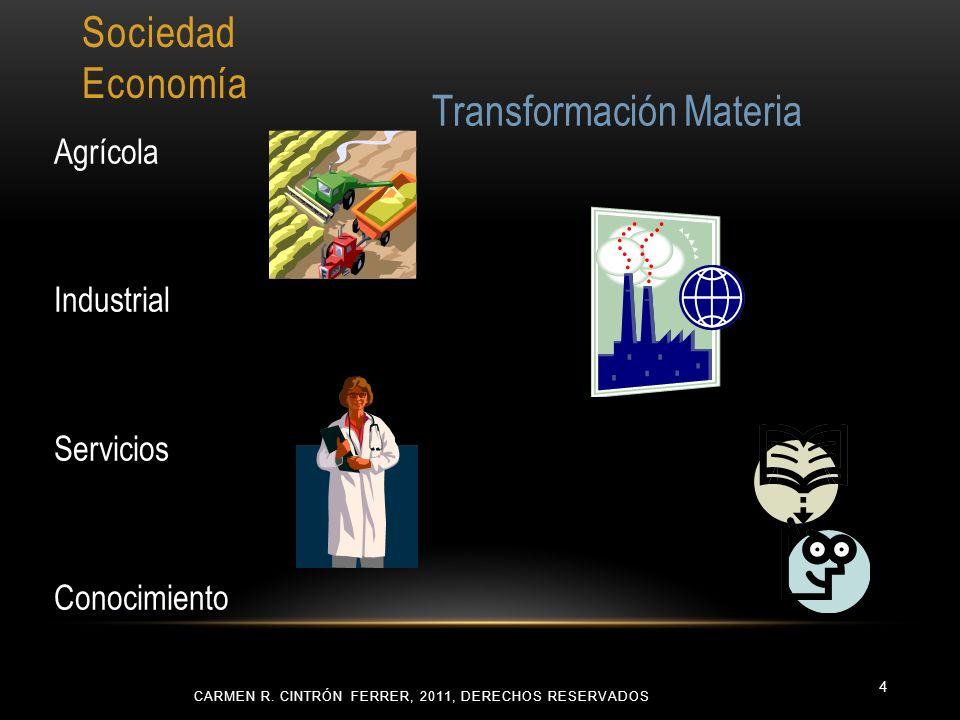 Sociedad Economía Agrícola Industrial Servicios Conocimiento CARMEN R. CINTRÓN FERRER, 2011, DERECHOS RESERVADOS 4 Transformación Materia