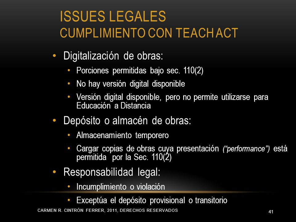 ISSUES LEGALES CUMPLIMIENTO CON TEACH ACT CARMEN R.