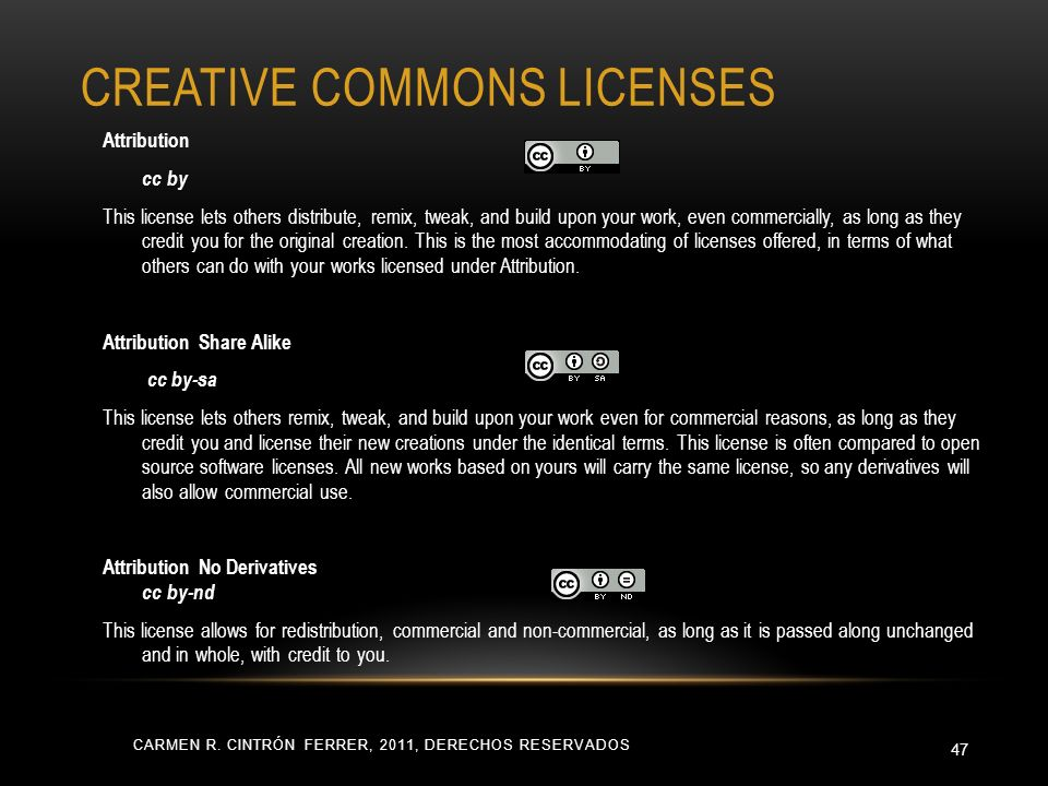 CREATIVE COMMONS LICENSES CARMEN R.