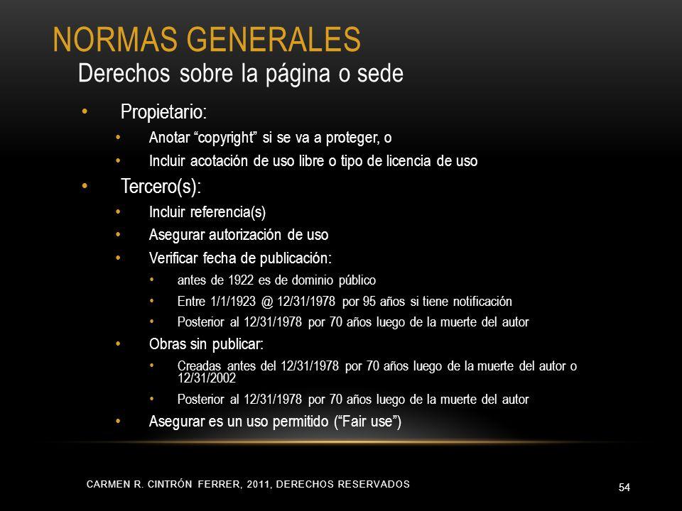 CARMEN R. CINTRÓN FERRER, 2011, DERECHOS RESERVADOS 54 Propietario: Anotar copyright si se va a proteger, o Incluir acotación de uso libre o tipo de l
