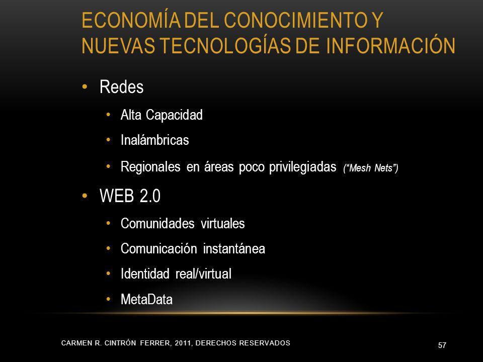 ECONOMÍA DEL CONOCIMIENTO Y NUEVAS TECNOLOGÍAS DE INFORMACIÓN CARMEN R. CINTRÓN FERRER, 2011, DERECHOS RESERVADOS 57 Redes Alta Capacidad Inalámbricas