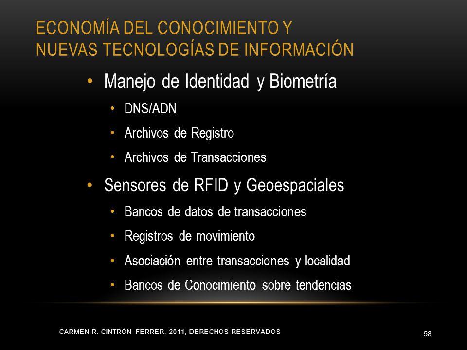 ECONOMÍA DEL CONOCIMIENTO Y NUEVAS TECNOLOGÍAS DE INFORMACIÓN CARMEN R. CINTRÓN FERRER, 2011, DERECHOS RESERVADOS 58 Manejo de Identidad y Biometría D