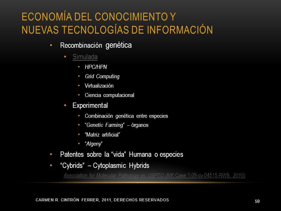 ECONOMÍA DEL CONOCIMIENTO Y NUEVAS TECNOLOGÍAS DE INFORMACIÓN CARMEN R. CINTRÓN FERRER, 2011, DERECHOS RESERVADOS 59 Recombinación genética Simulada H