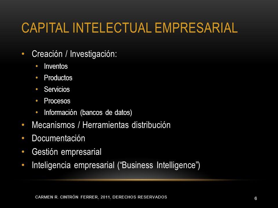 CAPITAL INTELECTUAL EMPRESARIAL CARMEN R. CINTRÓN FERRER, 2011, DERECHOS RESERVADOS 6 Creación / Investigación: Inventos Productos Servicios Procesos