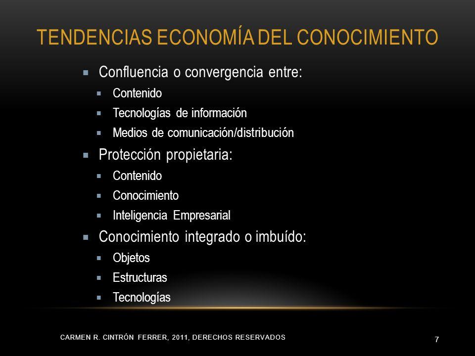 TENDENCIAS ECONOMÍA DEL CONOCIMIENTO CARMEN R. CINTRÓN FERRER, 2011, DERECHOS RESERVADOS 7 Confluencia o convergencia entre: Contenido Tecnologías de