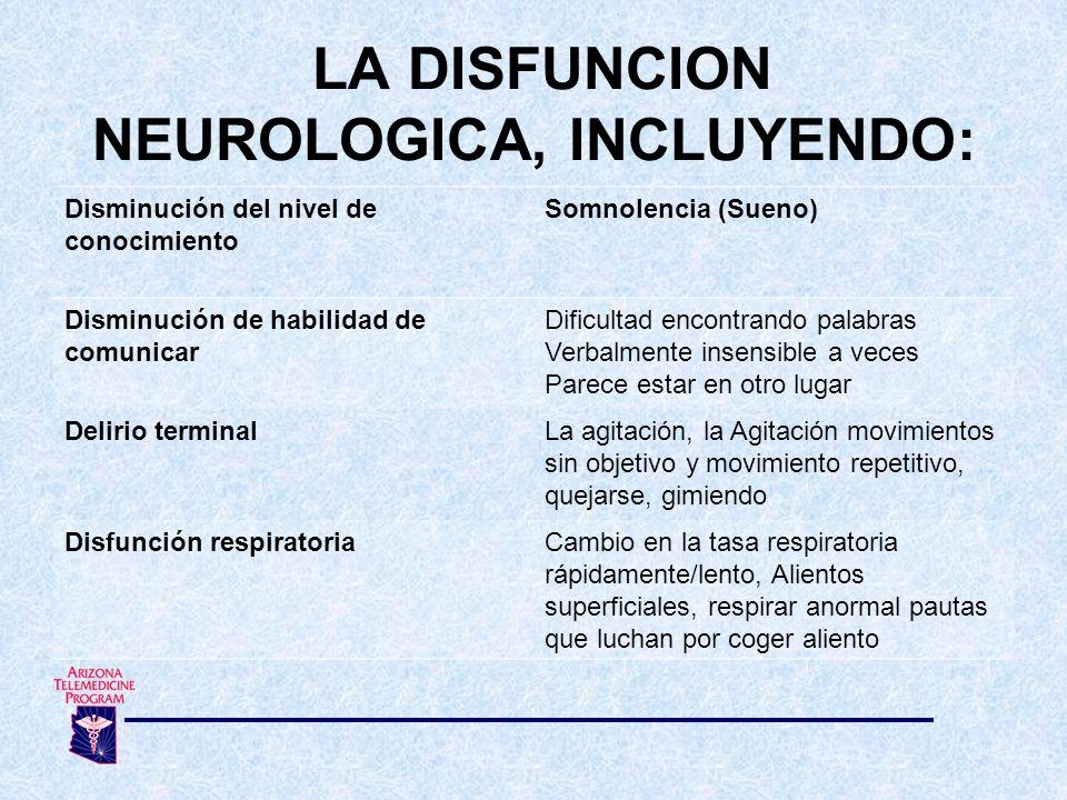 Disminución del nivel de conocimiento Somnolencia (Sueno) Disminución de habilidad de comunicar Dificultad encontrando palabras Verbalmente insensible