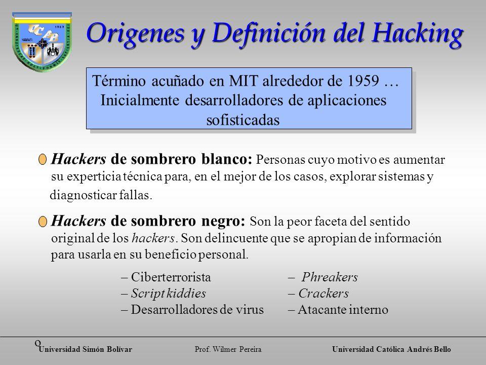 Universidad Simón BolívarProf. Wílmer PereiraUniversidad Católica Andrés Bello Origenes y Definición del Hacking Hackers de sombrero blanco: Personas