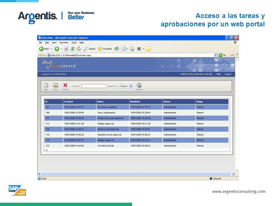 Acceso a las tareas y aprobaciones por un web portal