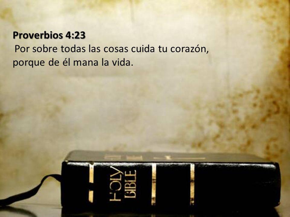 Proverbios 4:23 Proverbios 4:23 Por sobre todas las cosas cuida tu corazón, porque de él mana la vida.