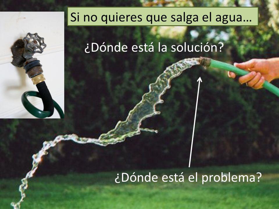 ¿Dónde está el problema? ¿Dónde está la solución? Si no quieres que salga el agua…