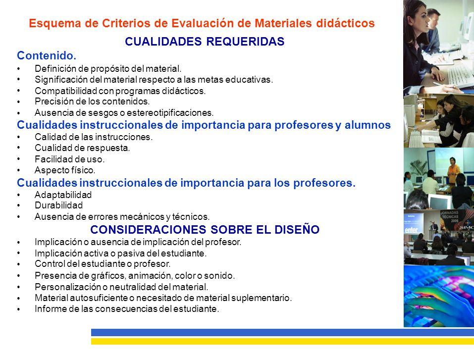 Esquema de Criterios de Evaluación de Materiales didácticos CUALIDADES REQUERIDAS Contenido.