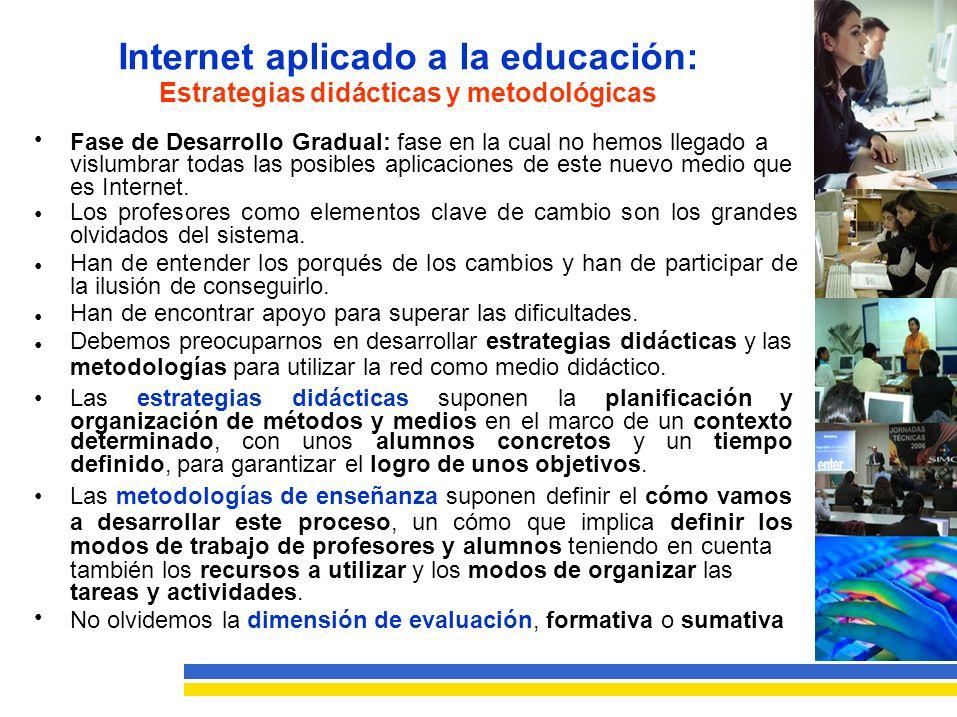 Internet aplicado a la educación: Estrategias didácticas y metodológicas Fase de Desarrollo Gradual: fase en la cual no hemos llegado a vislumbrar todas las posibles aplicaciones de este nuevo medio que es Internet.