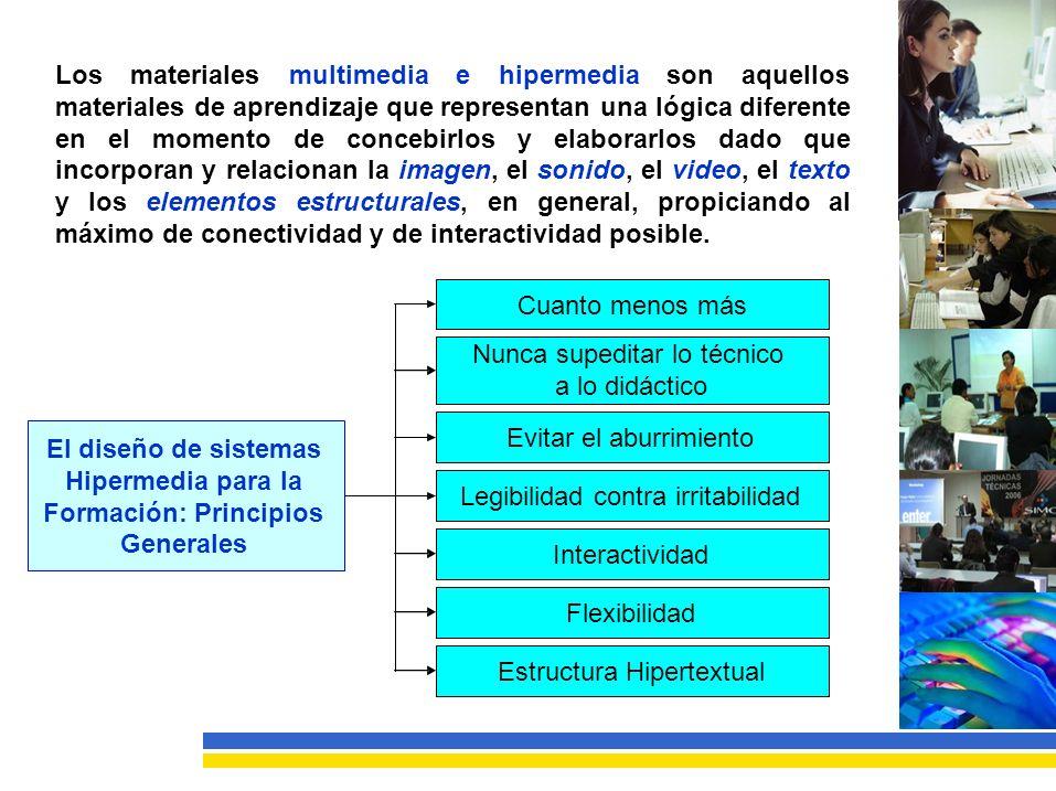 Losmaterialesmultimediaehipermediasonaquellos materiales de aprendizaje que representan una lógica diferente enelmomentodeconcebirlosyelaborarlosdadoque incorporan y relacionan la imagen, el sonido, el video, el texto yloselementosestructurales,engeneral,propiciandoal máximodeconectividadydeinteractividadposible.