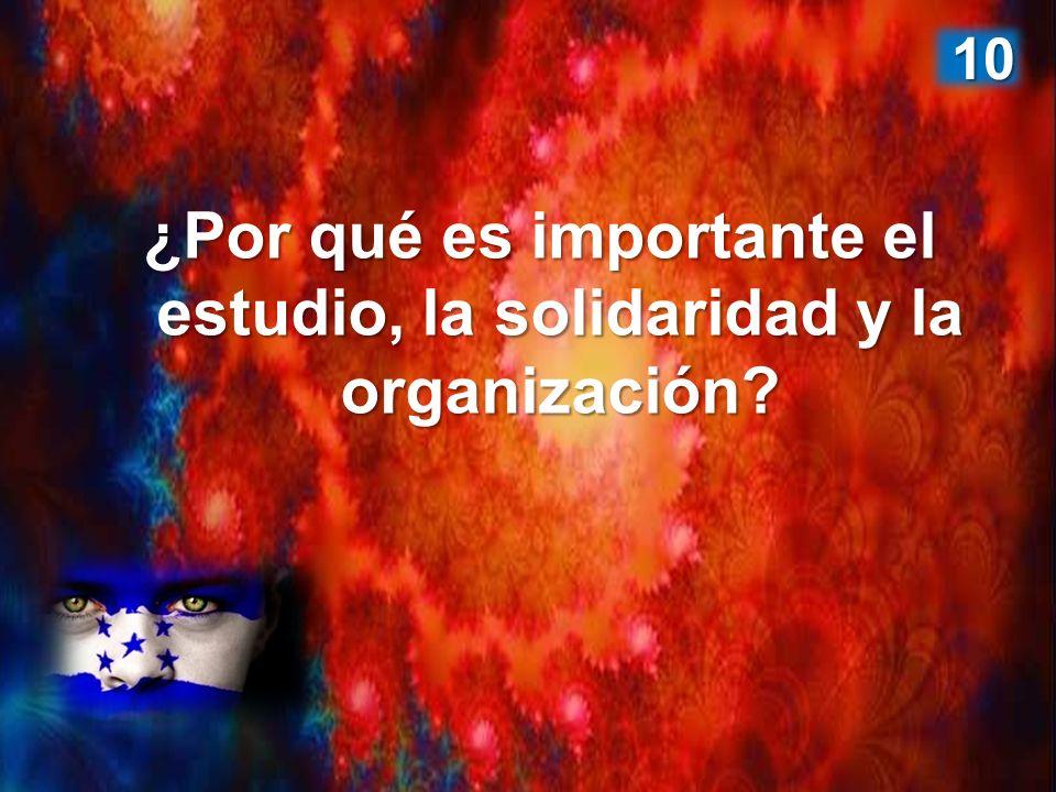 ¿Por qué es importante el estudio, la solidaridad y la organización? 10 10