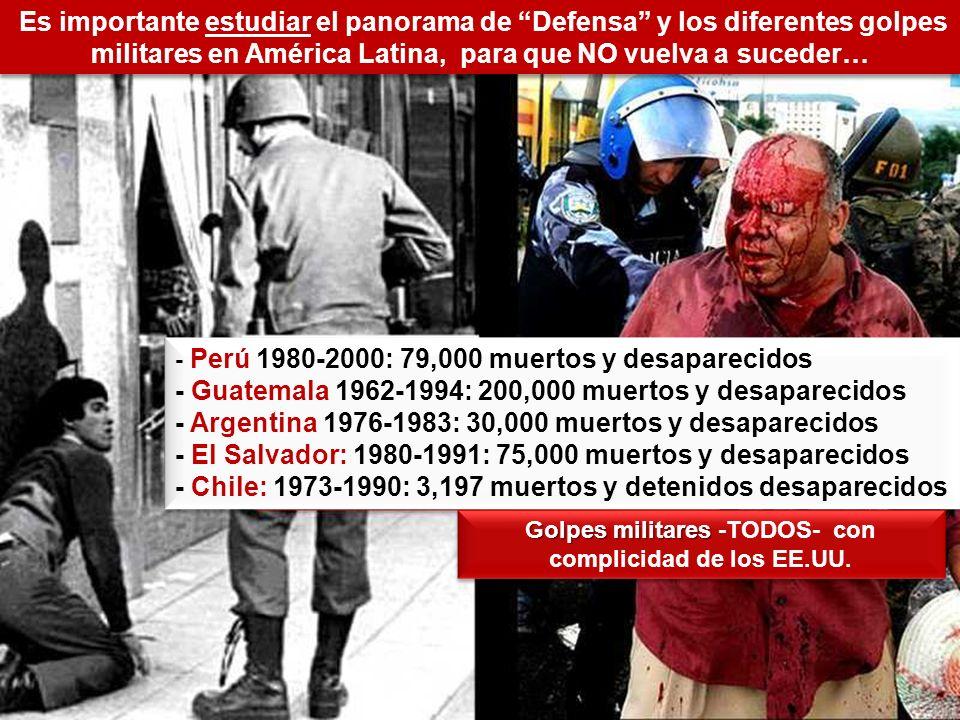 Es importante estudiar el panorama de Defensa y los diferentes golpes militares en América Latina, para que NO vuelva a suceder… - Perú 1980-2000: 79,