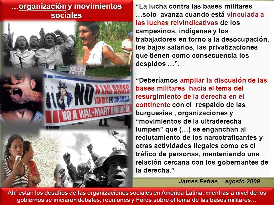 La lucha contra las bases militares …solo avanza cuando está vinculada a las luchas reivindicativas de los campesinos, indígenas y los trabajadores en