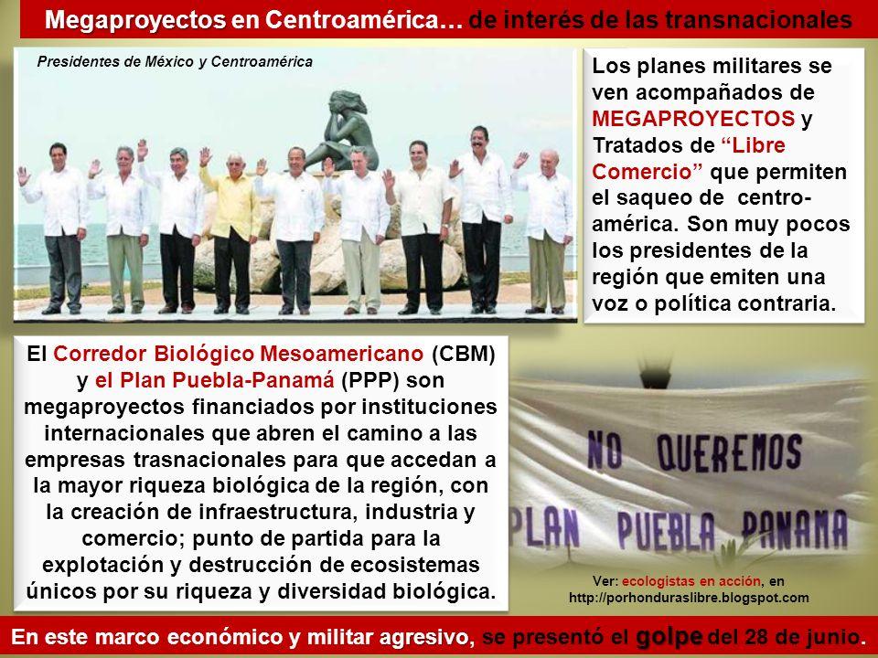 El Corredor Biológico Mesoamericano (CBM) y el Plan Puebla-Panamá (PPP) son megaproyectos financiados por instituciones internacionales que abren el c