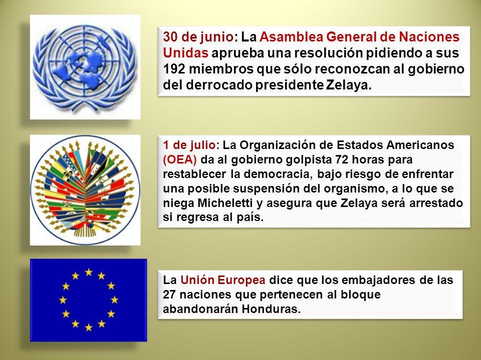 30 de junio: La Asamblea General de Naciones Unidas aprueba una resolución pidiendo a sus 192 miembros que sólo reconozcan al gobierno del derrocado p