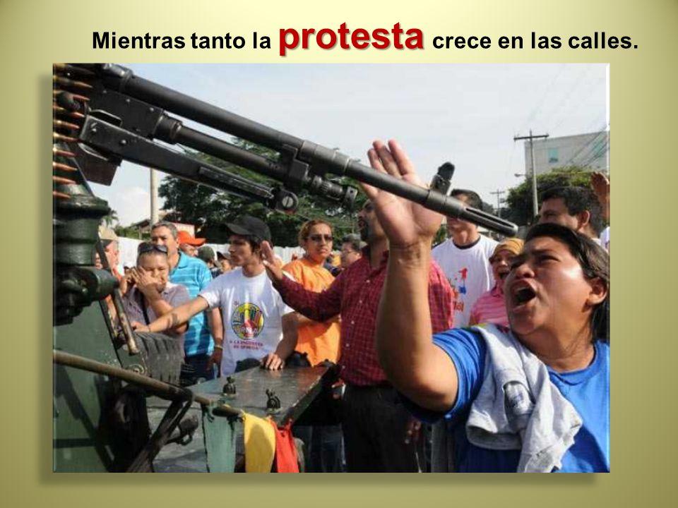 protesta Mientras tanto la protesta crece en las calles.
